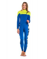 Гидрокостюм Glide Soul длинный женский FULL WETSUIT CHEST ZIP 5mm T&D Print/Blue/Lemon0S17