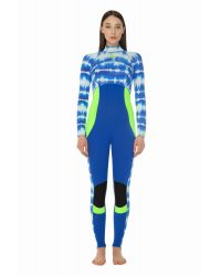 Гидрокостюм Glide Soul длинный женский FULL WETSUIT BACK ZIP 3/2mm T&D Print/Blue/Lemon0S17